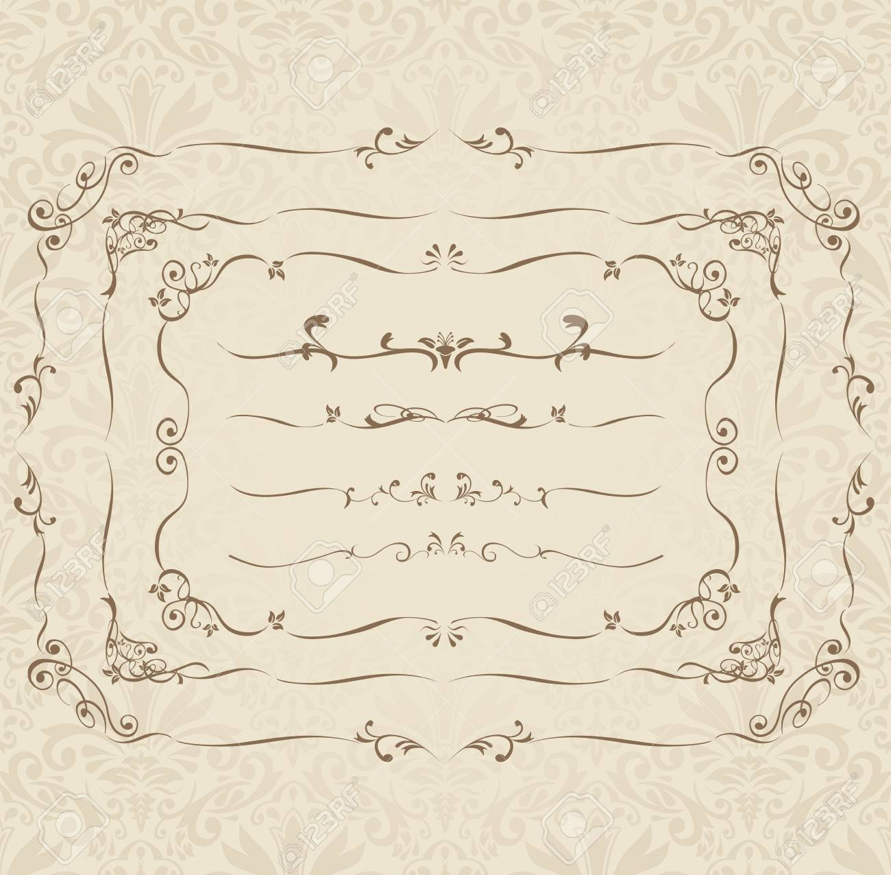 c037b76b278 decorative gold frame set Vector Stock Vector - 48606223
