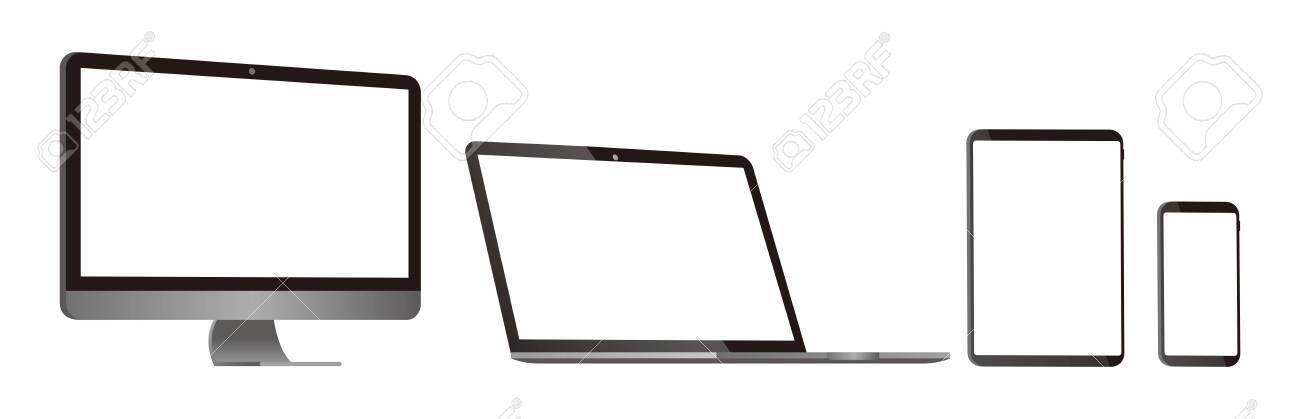 pc laptop smartphone vector illustration - 143534374