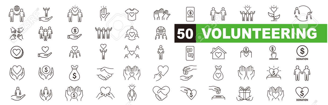 Volunteering icons set. Outline set of volunteering vector icons for web design isolated on white background - 171448970