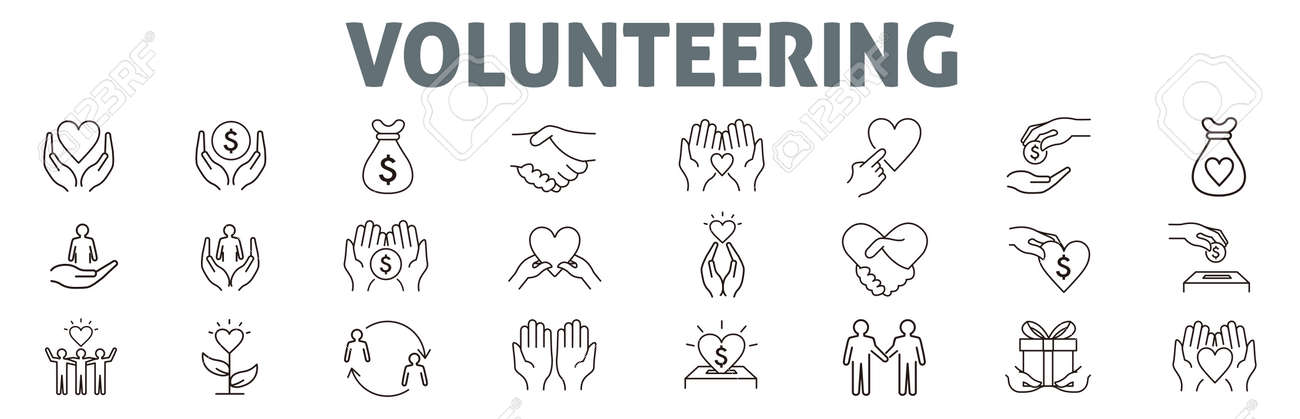 Volunteering icons set. Outline set of volunteering vector icons for web design isolated on white background - 171449005