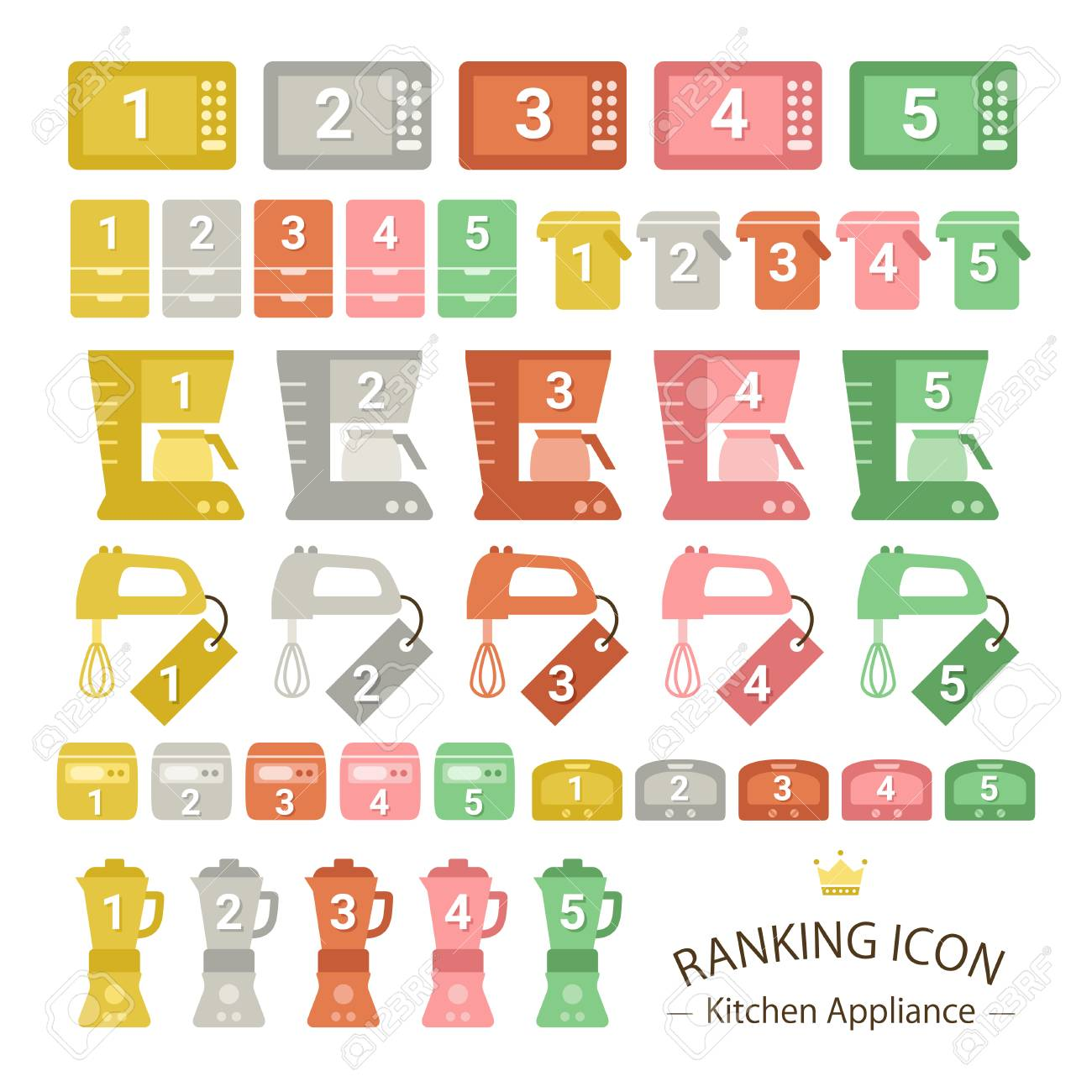 Kitchen Appliance Ranking Icon Sets Royalty Free Cliparts, Vectors ...
