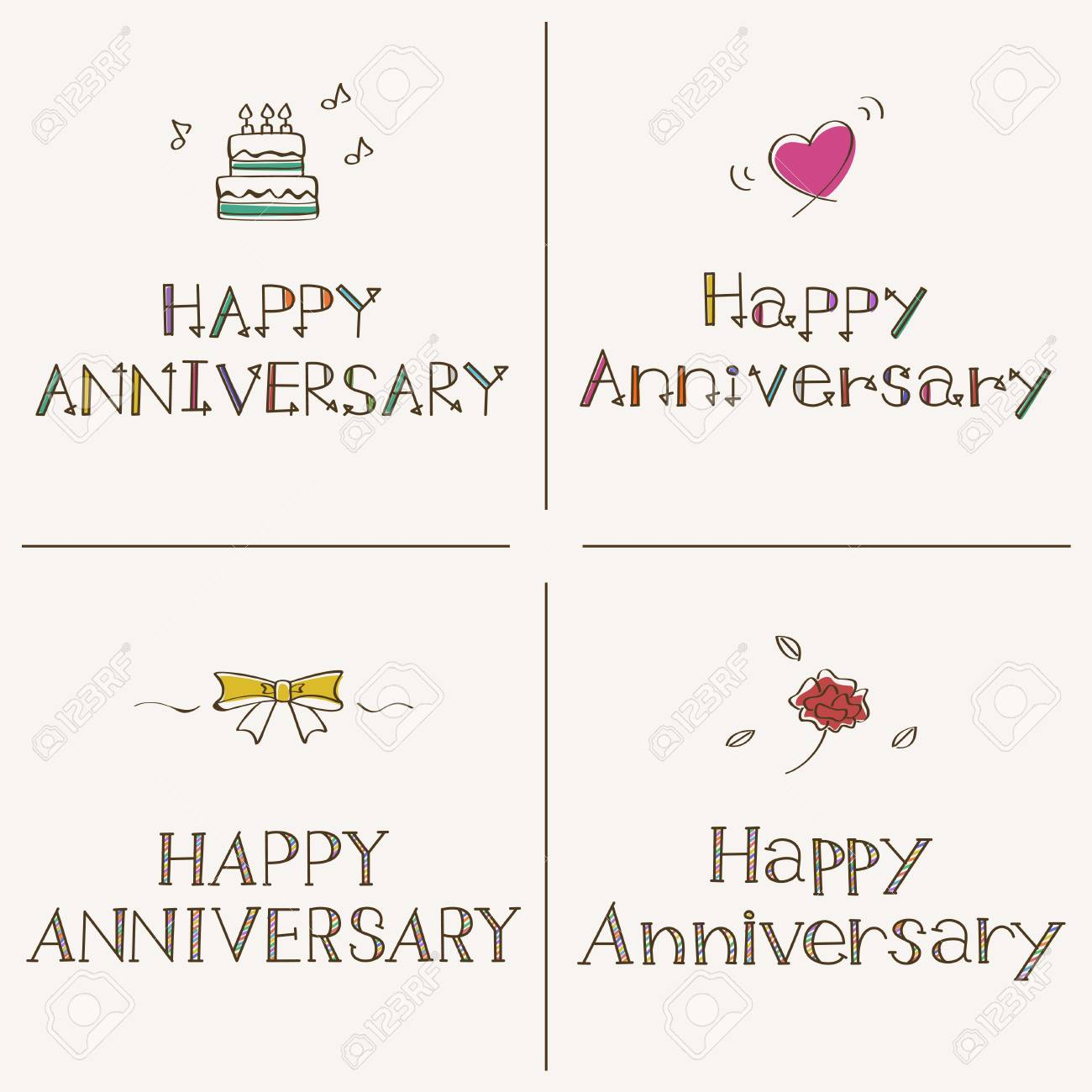 Happy Anniversary Greeting Card Template Set Royalty Free Cliparts