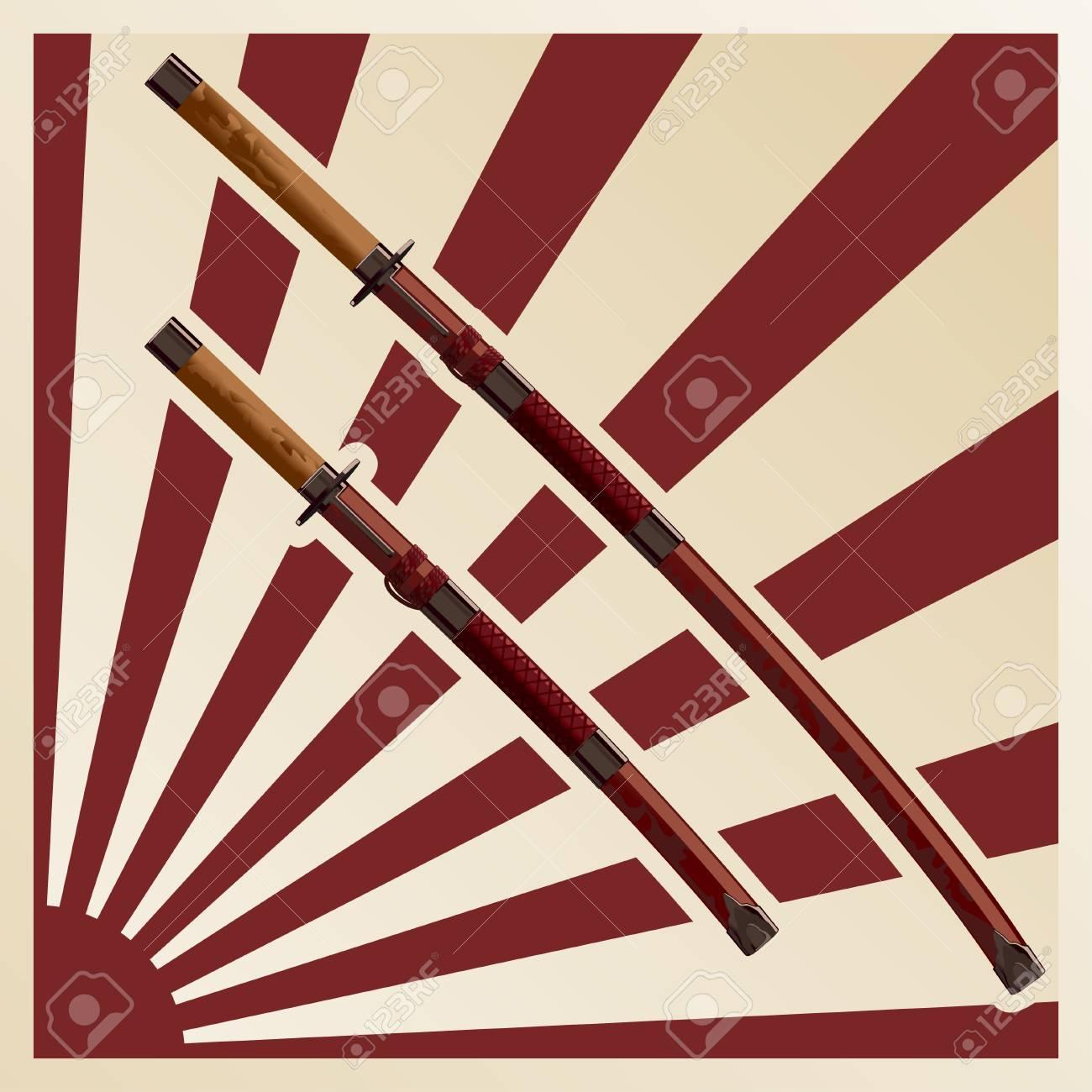 samurai swords in a sheath against the background of the sun - 115033854