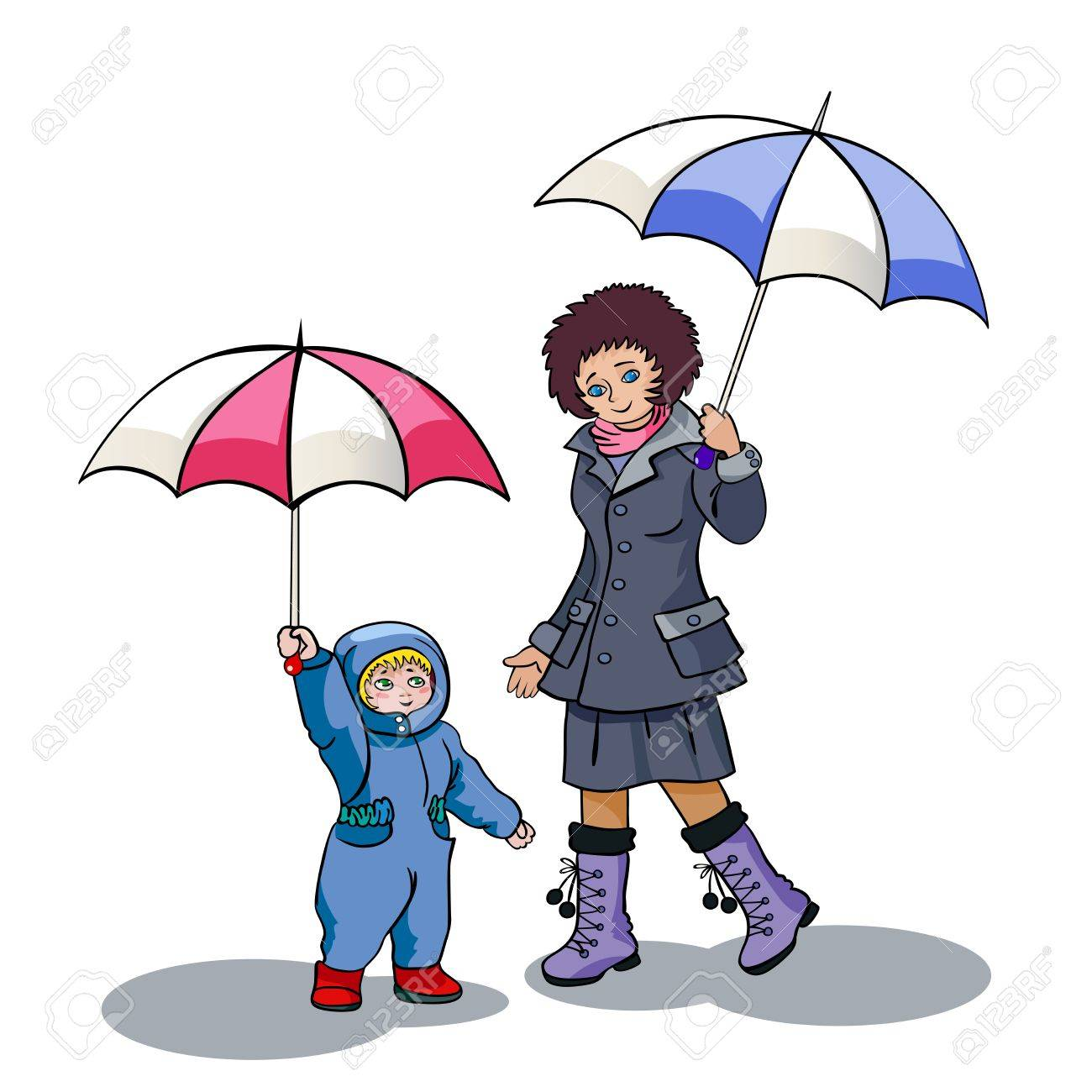 Mum and the son walk during a rain. Stock Vector - 11731121