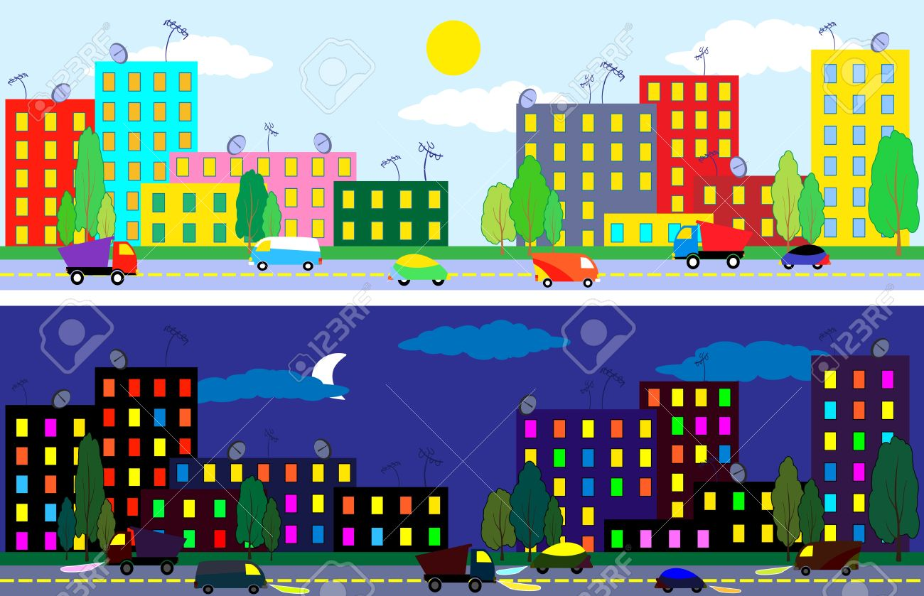 Cartoon city of night and day time , texture seamless Stock Vector - 12373202