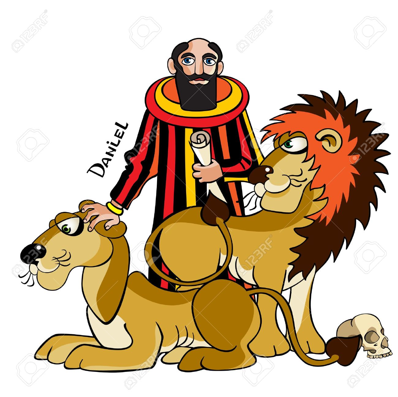 The Jewish prophet and wise man Daniel is in a ditch with lions cannibals, Bible illustration. Stock Vector - 12791069