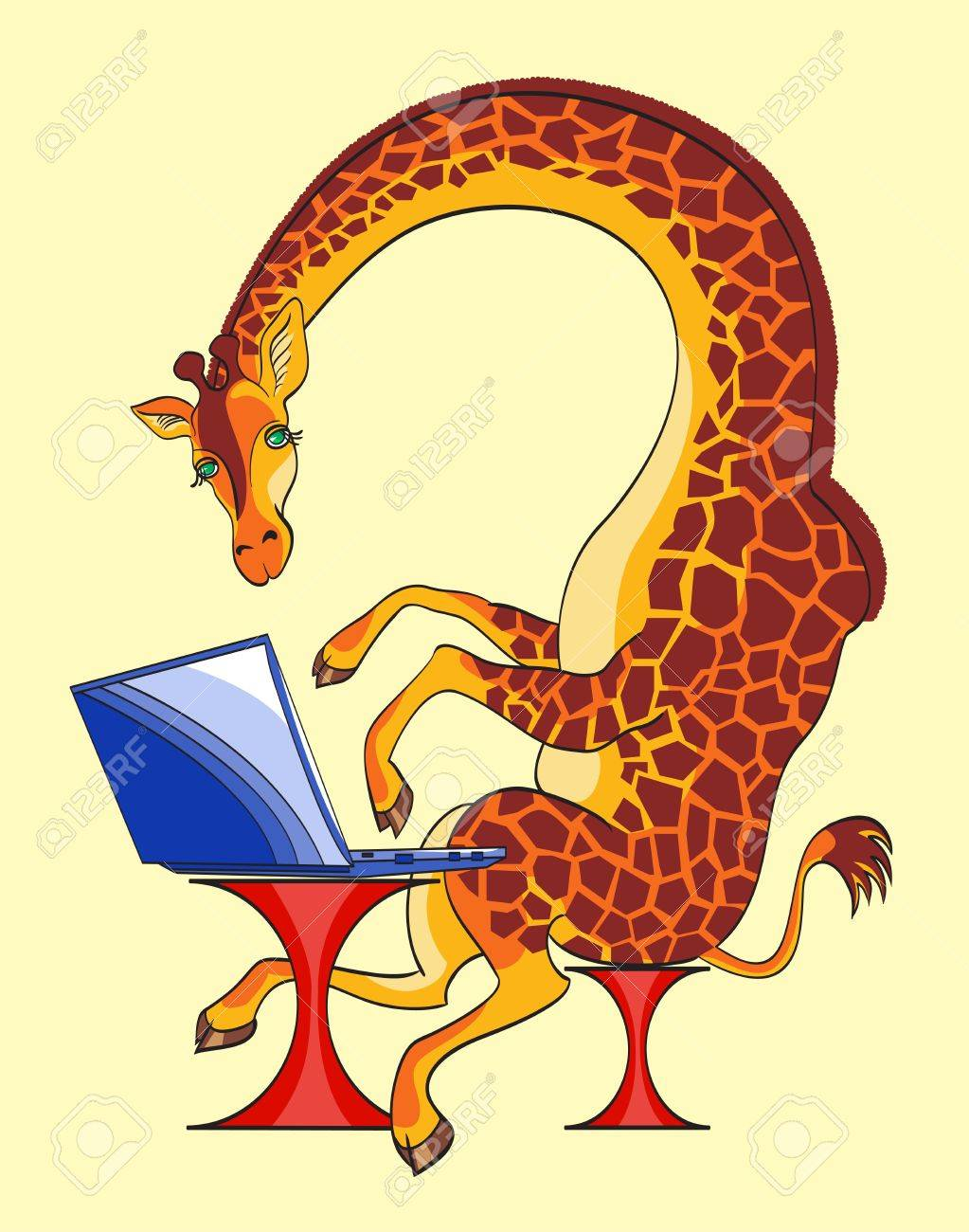 The big giraffe sits at the laptop,all layers separate, are not present transparent  and   gradients Stock Vector - 18419482