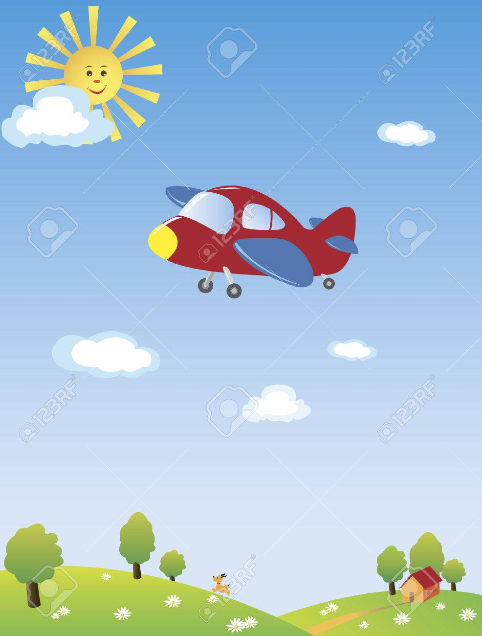 A drawing of an airplane flying high in the blue sky with the yellow sun and blue clouds, a dog running underneath on the hill with green trees and a small house. Stock Vector - 4189209
