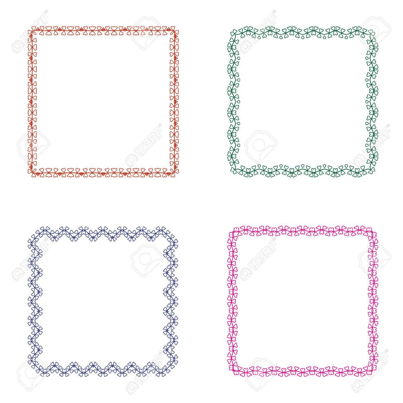 Conjunto De Cuatro Marcos Cuadrados. Diseño Simple Lindo Para La ...