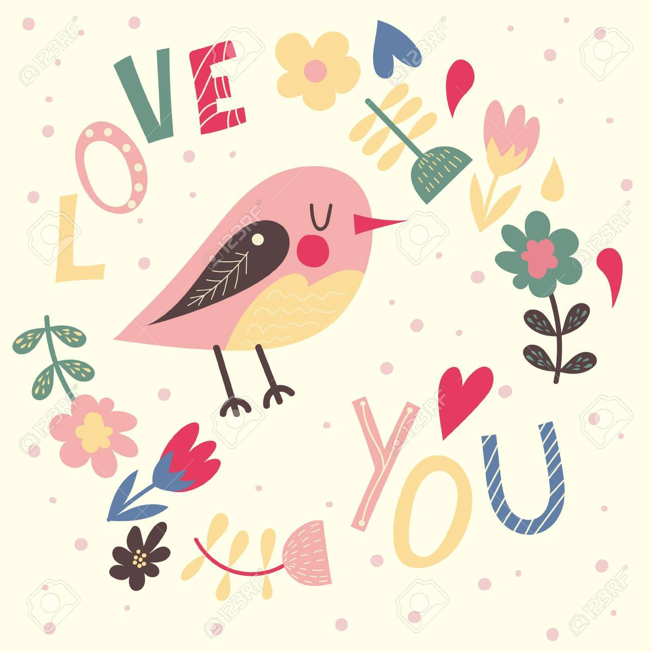 Greeting Card With Cute Bird And Flowers In The Backgroundtemplate