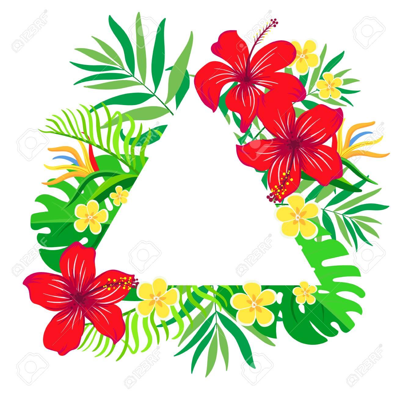 Tarjeta De Vector Floral Con Coloridas Flores Tropicales En El Marco ...