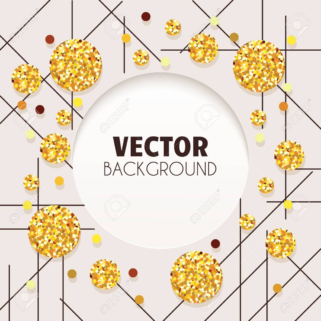 Stylish Card With Geometric Designs Golden Circles And Lines Wedding