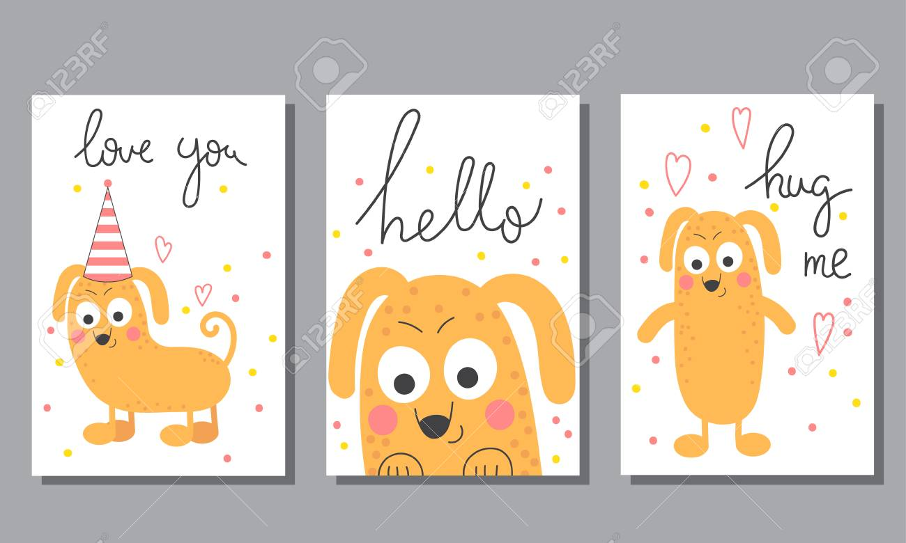 Cute Hand Drawn Doodle Birthday, Party, Baby Shower Cards, Brochures ...