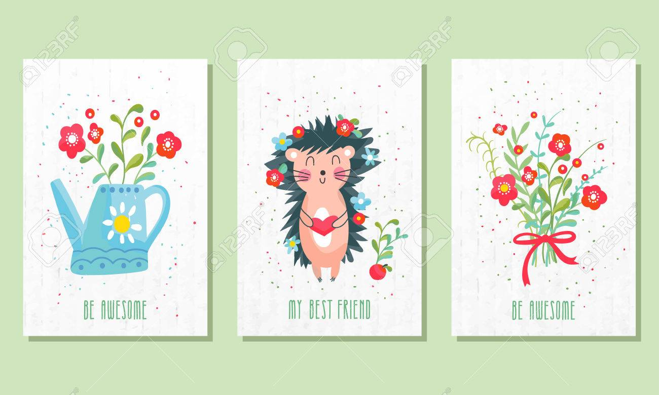 Set Of Three Childrens Post Cards Cute Birthday Can Be Used For