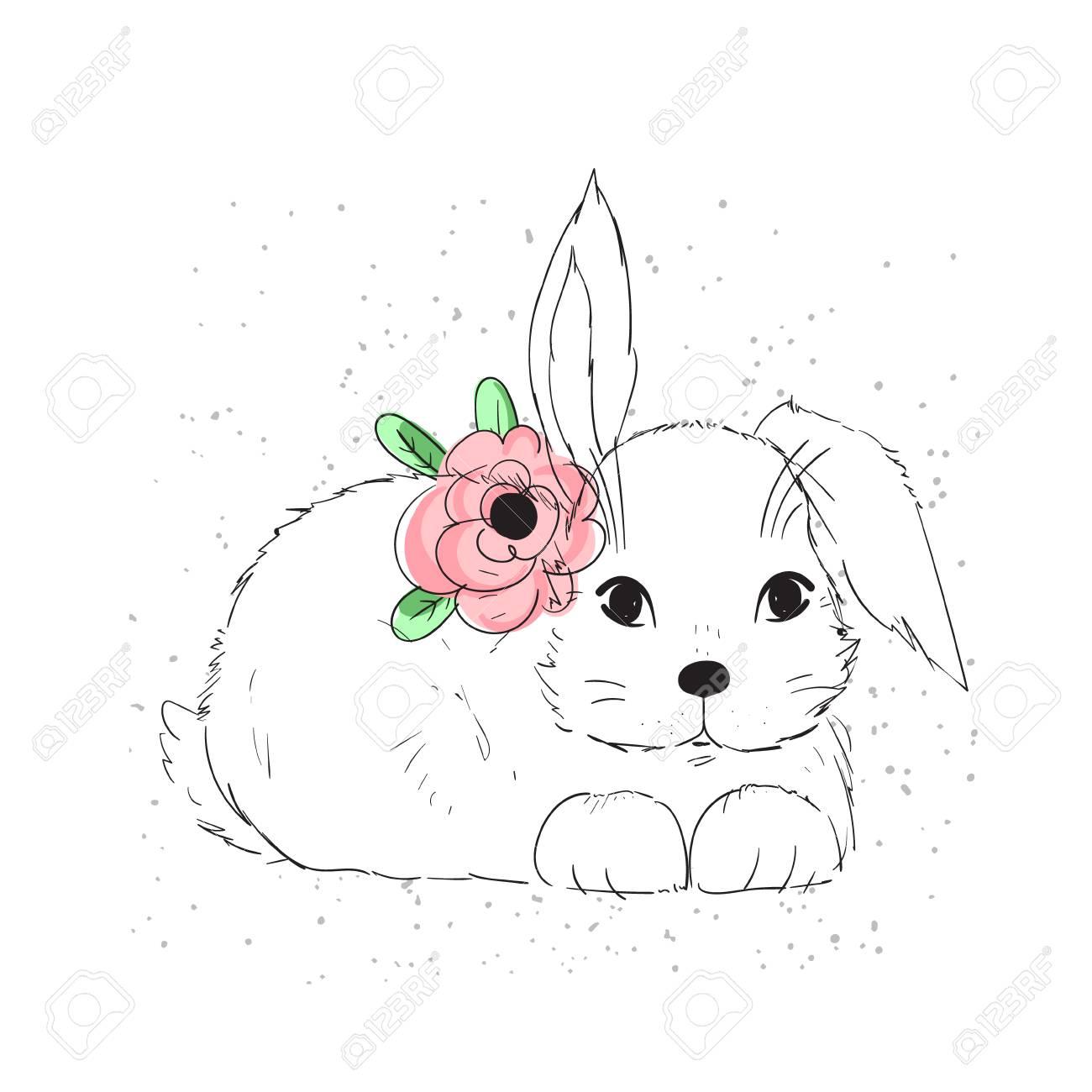 かわいいウサギやポストカードt シャツなどのアパレルの花のベクトル イラスト