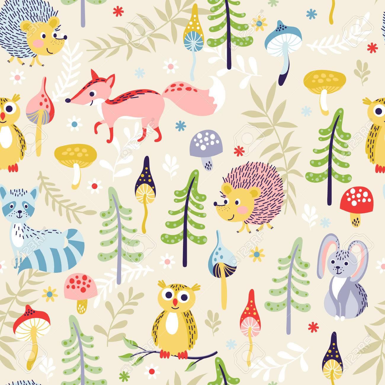 Patrón Sin Fisuras Con Animales De Bosque De Dibujos Animados Lindos Y Diferentes Plantas Sobre Fondo Beige Ilustración Vectorial Para Los Niños