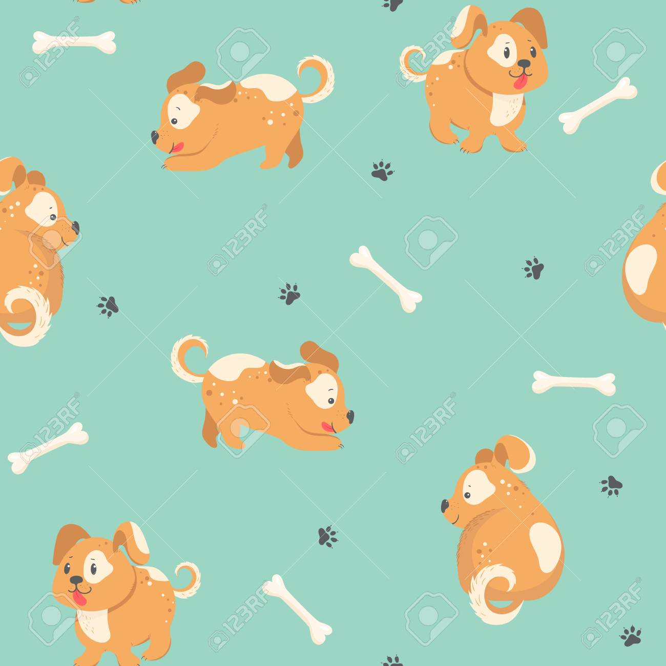 57683af99820 Seamless background with cute red dog, paw print and bone. Vector  Illustration Stock Vector