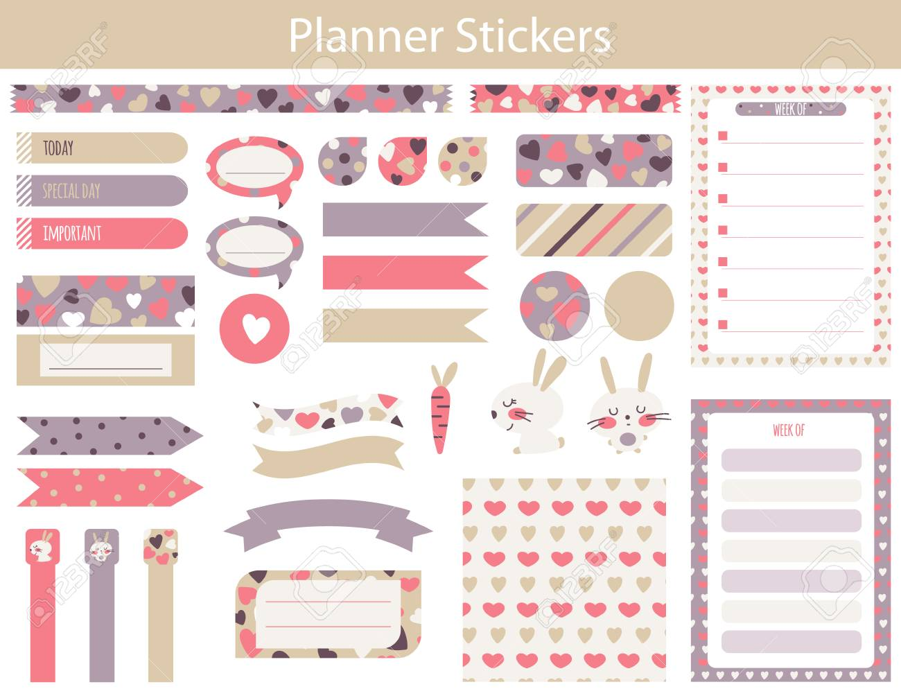 Planner stickers with cute hare carrot and hearts in simple kids cartoon style weekly