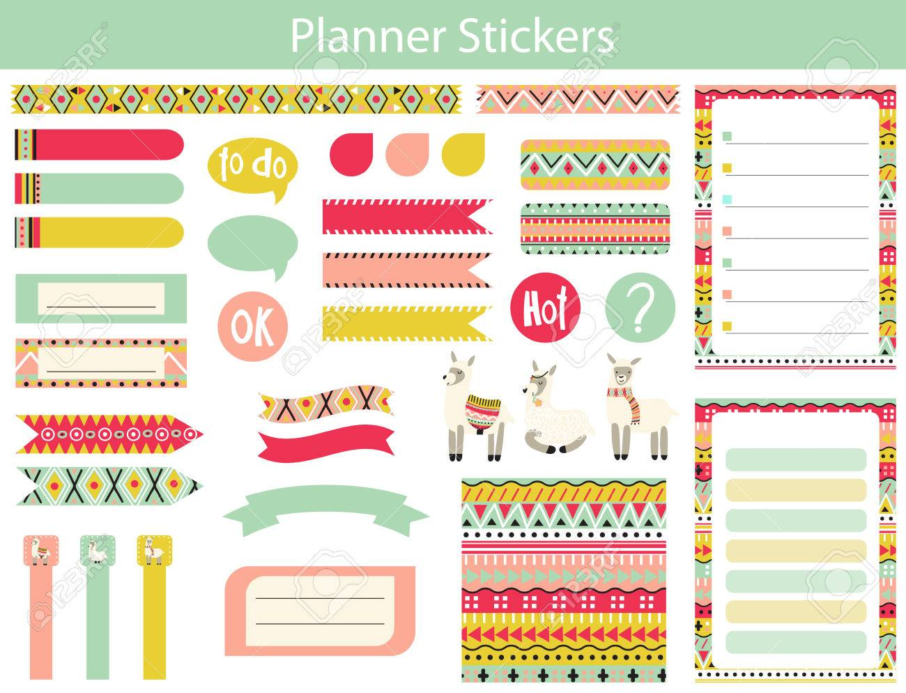 collection of planner stickers with cute lama and the aztec patterns