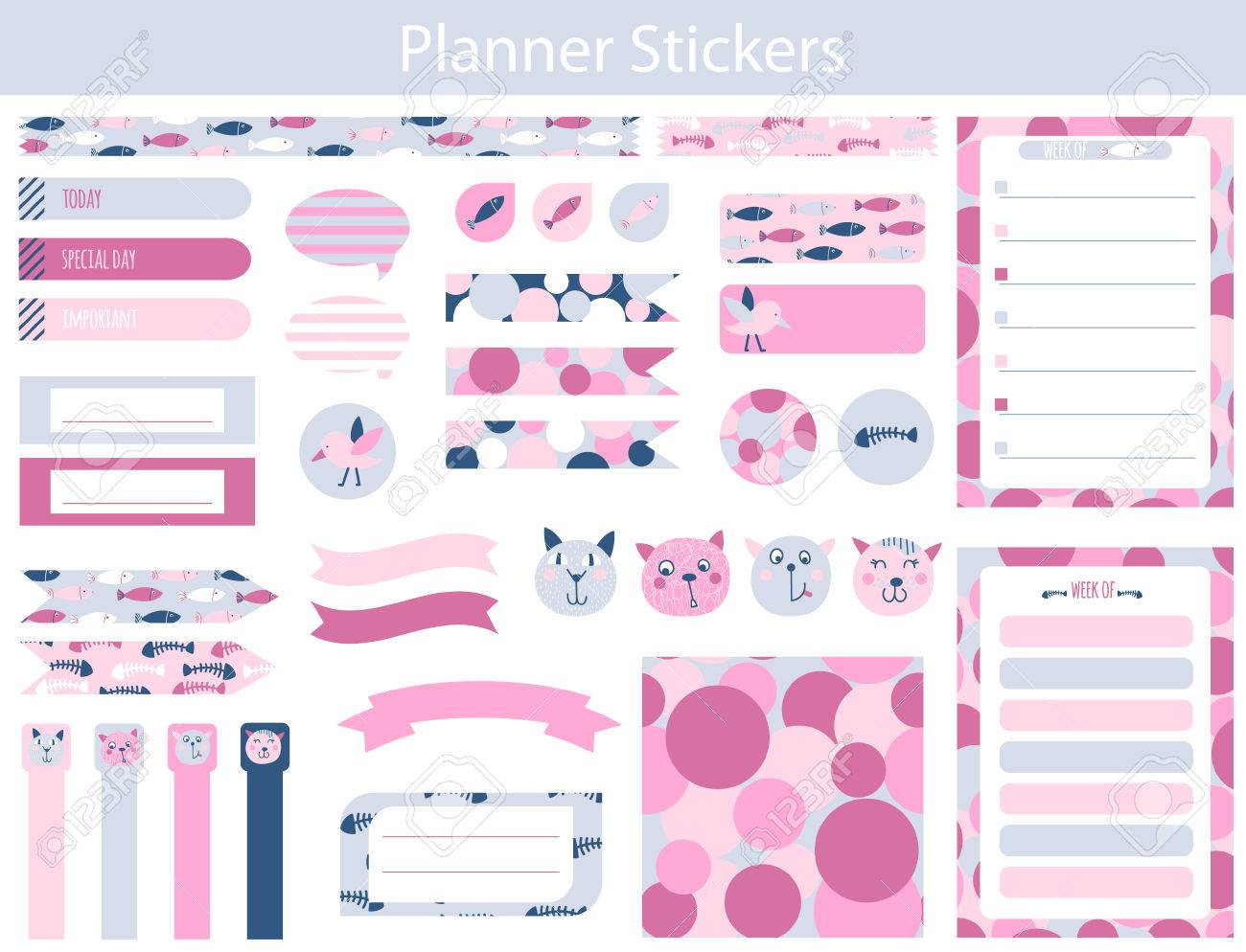 collection of planner stickers with cute cats, fish and fish