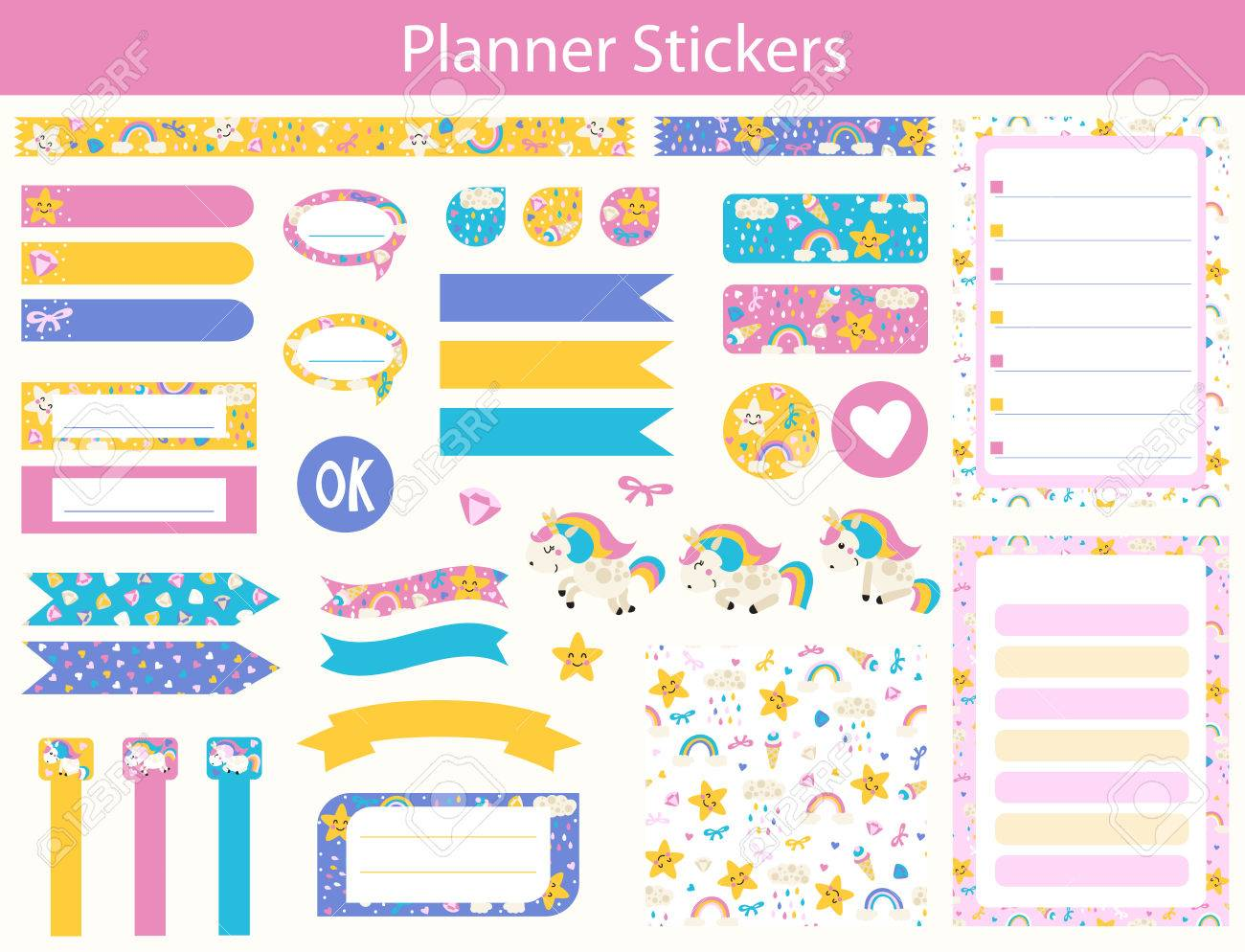 set of planner stickers with cute unicorn, rainbow and star in