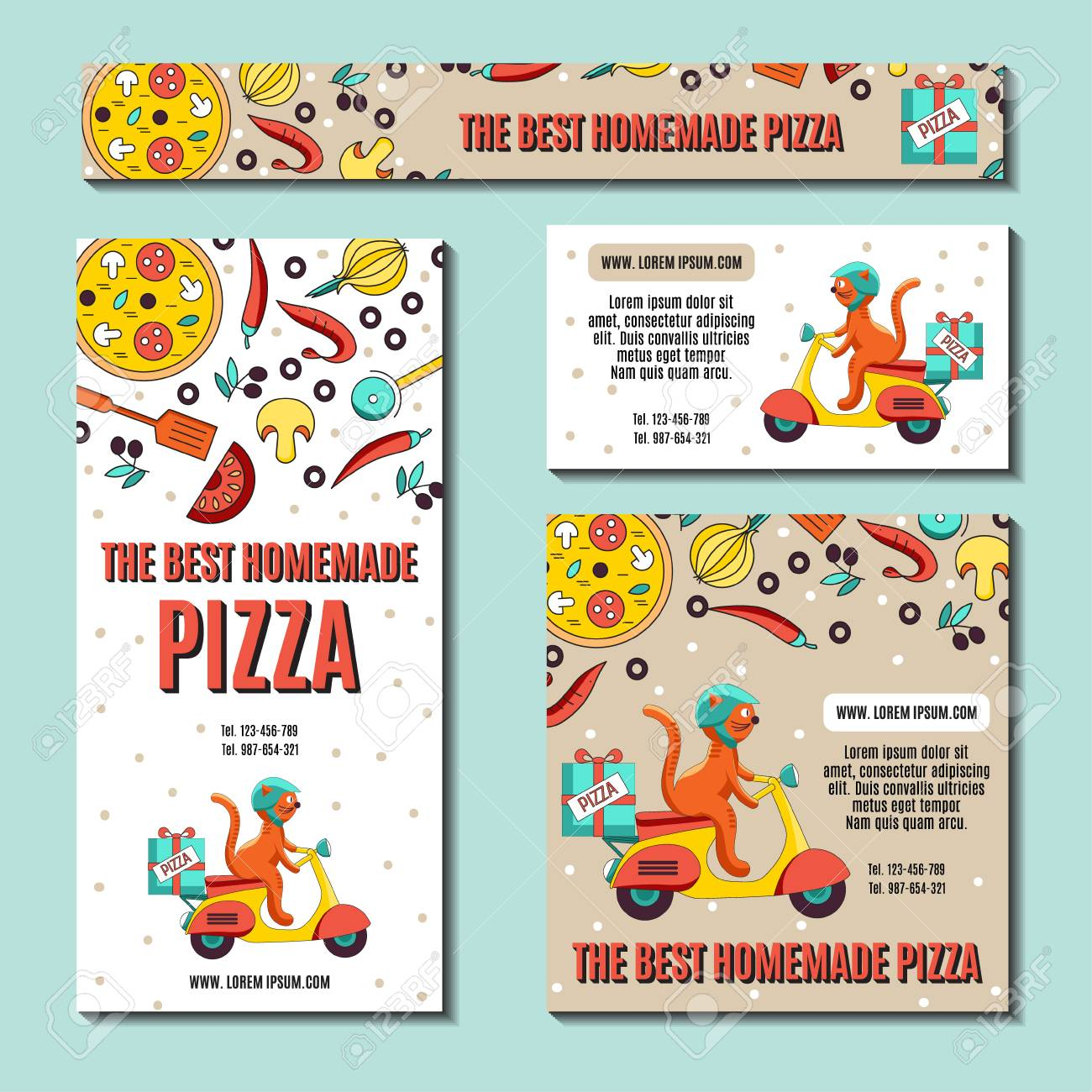 Set of business cards or flyers with an image of ingredients set of business cards or flyers with an image of ingredients for pizza and fun cat colourmoves
