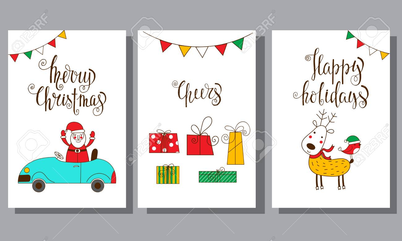 Set Of Funny Christmas Cards. Royalty Free Cliparts, Vectors, And ...