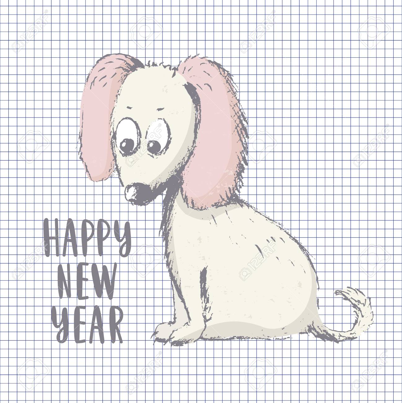 Happy new year 2018 card hand drawn in pencil dog isolated on squared background