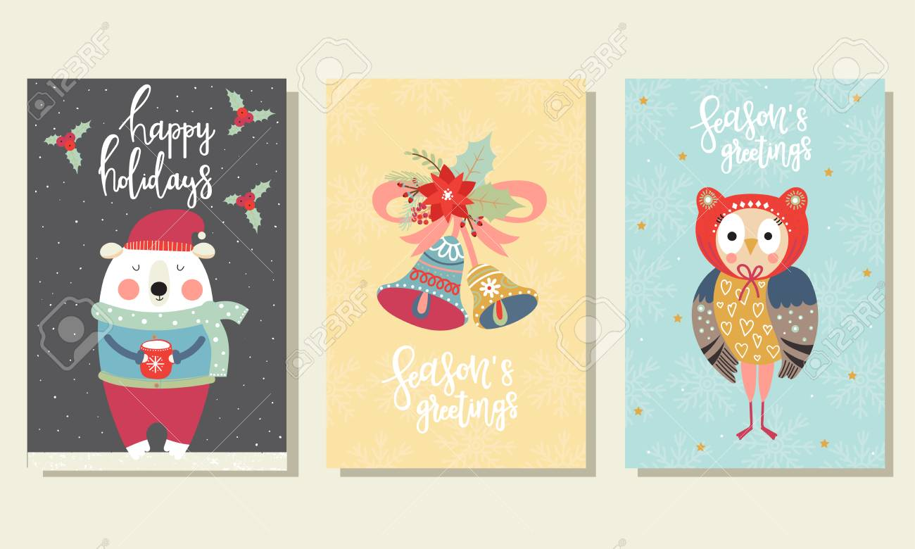 Collection Of Christmas Cards With Cute Bear, Owl And Bells In ...