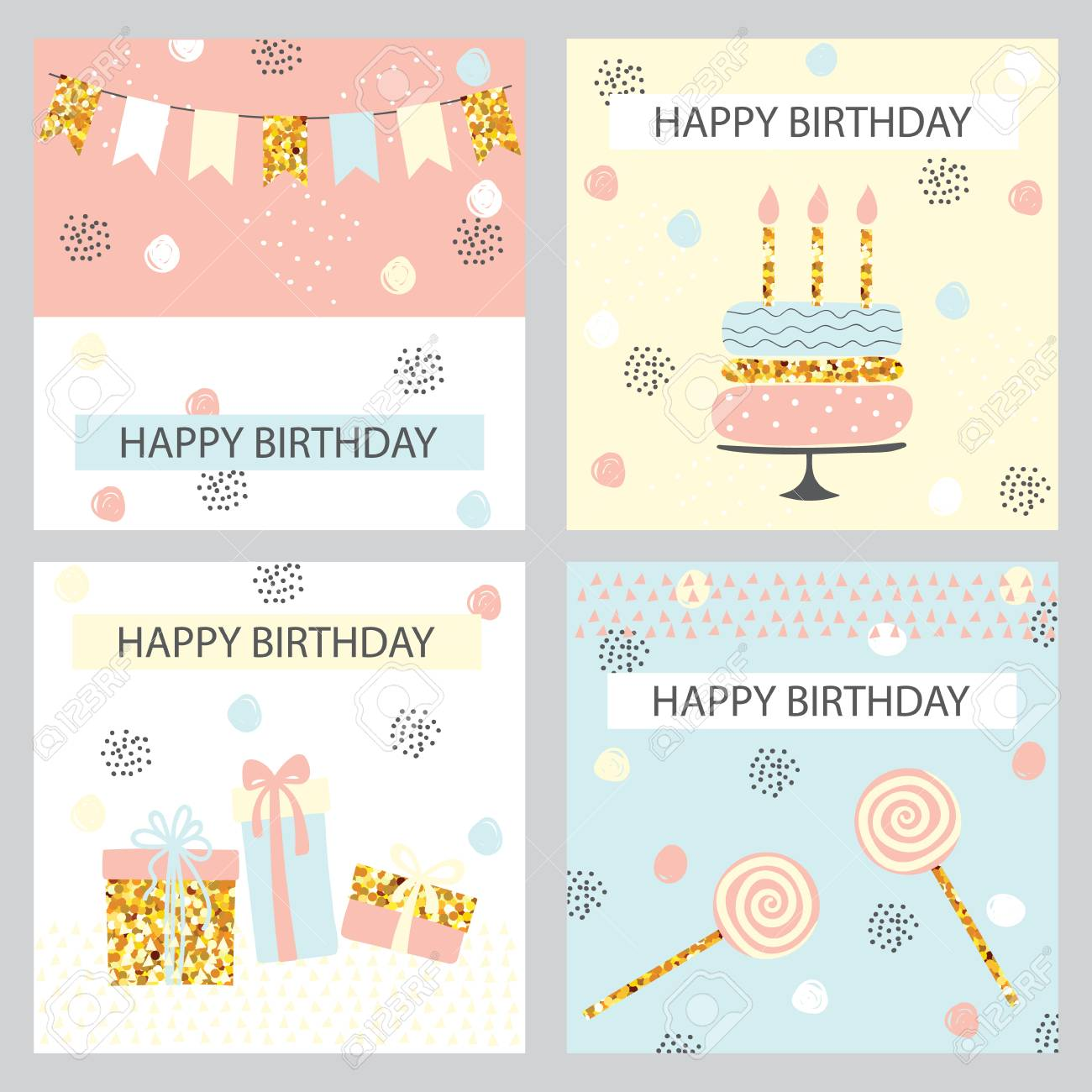 Happy Birthday Card Greeting Cards In Doodle Style Pastel Colors