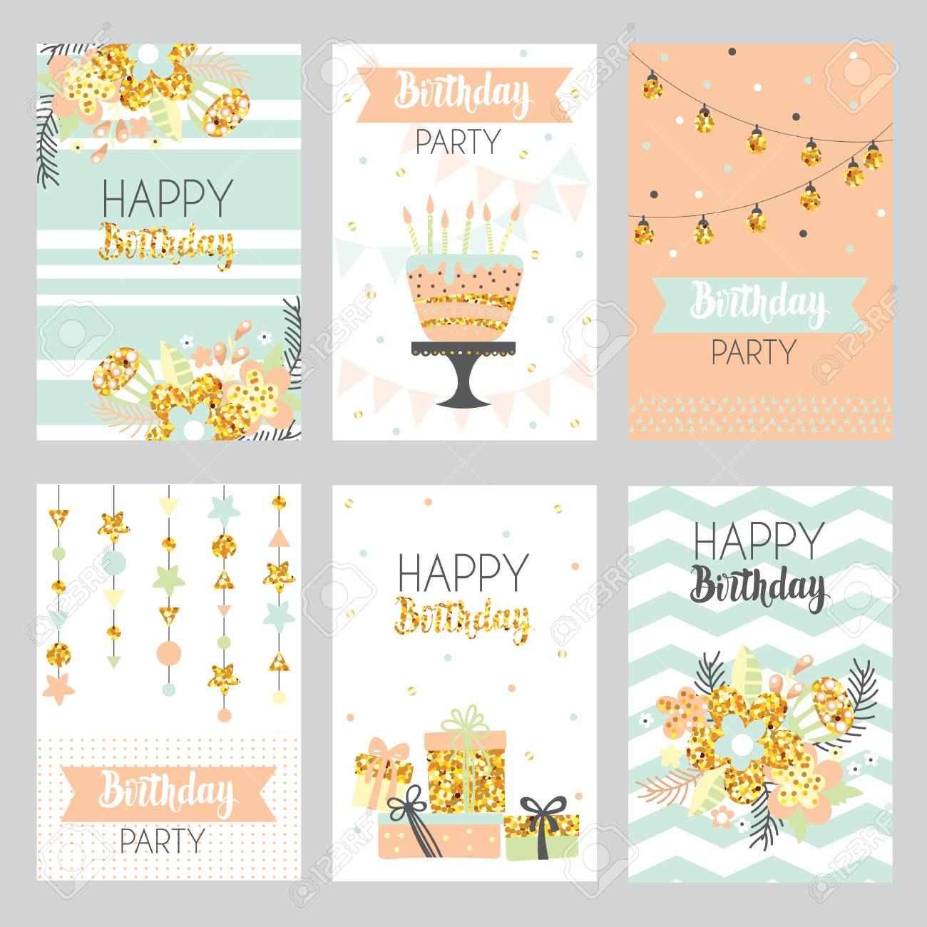 Happy Birthday Card With Golden Sparkle Cake Flowers Gift