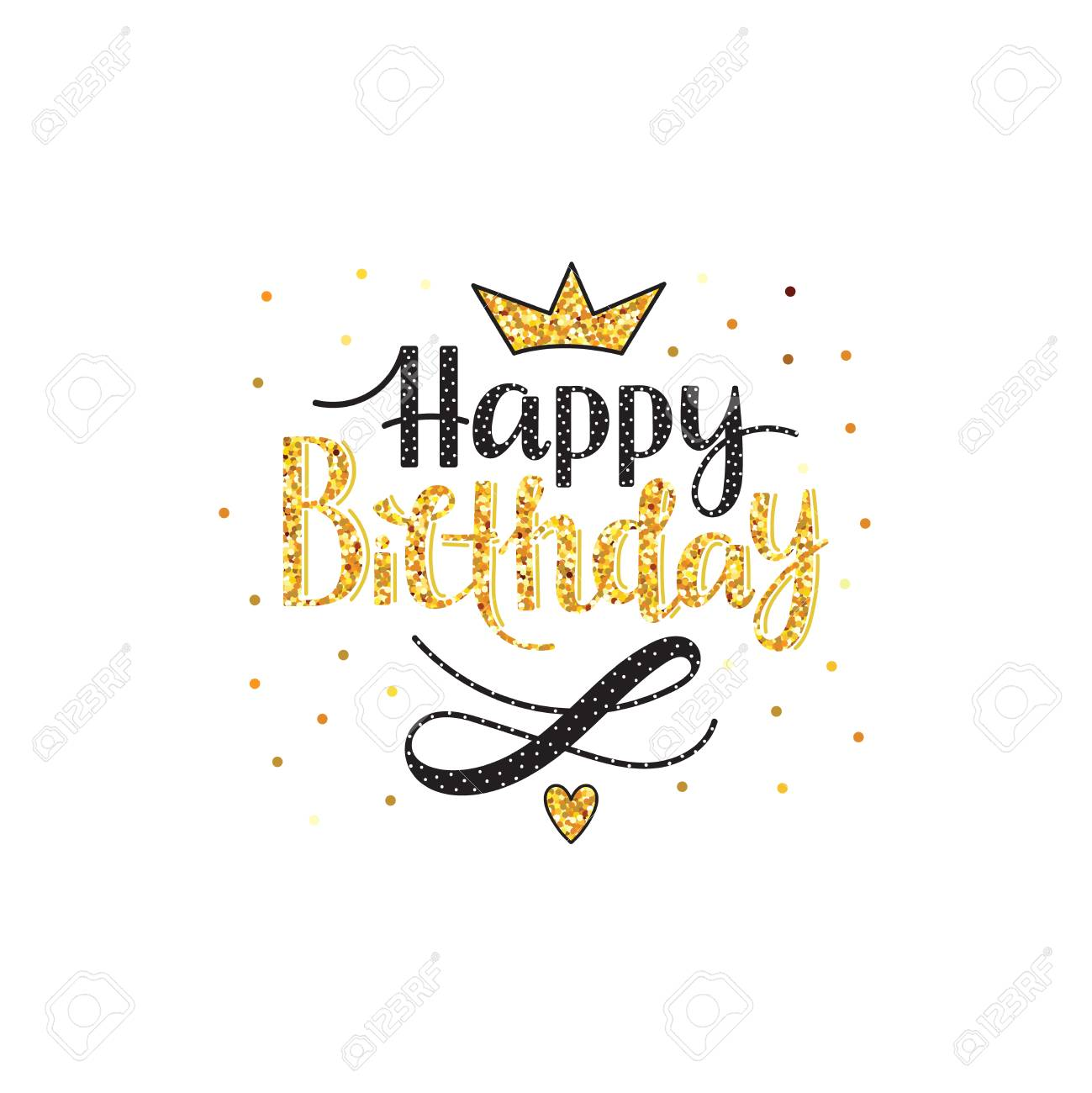 Happy Birthday Greeting Card With Lettering Design Vector