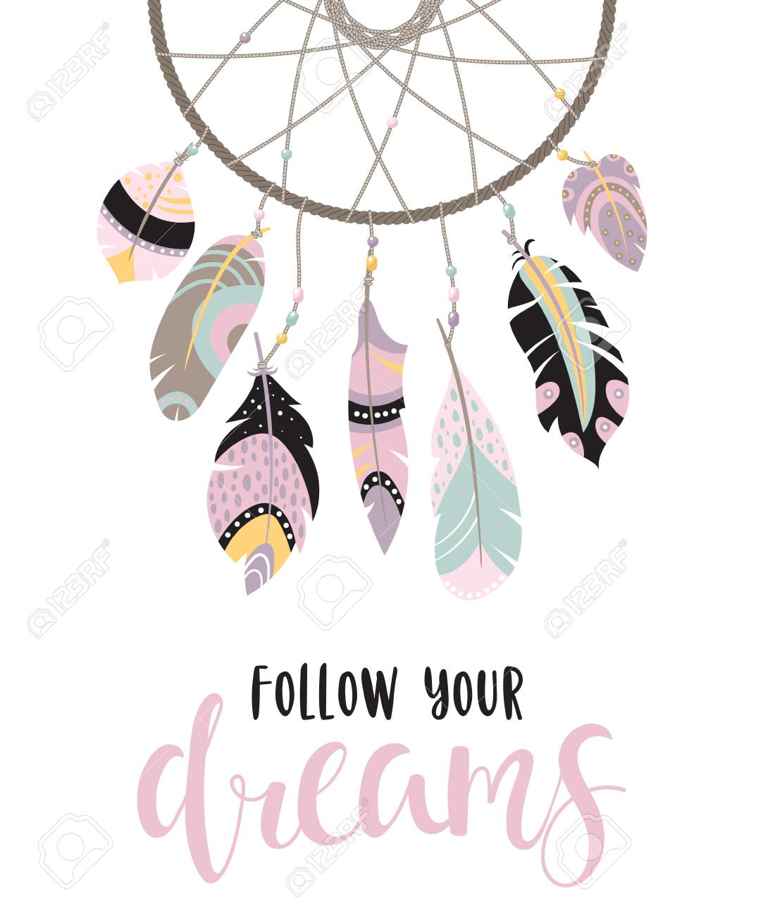 Boho template with inspirational quote - follow your dreams...