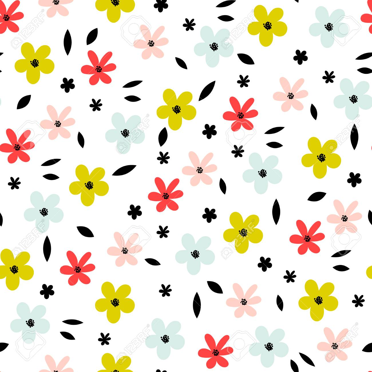 Seamless Floral Pattern With Small Abstract Flower Heads On White