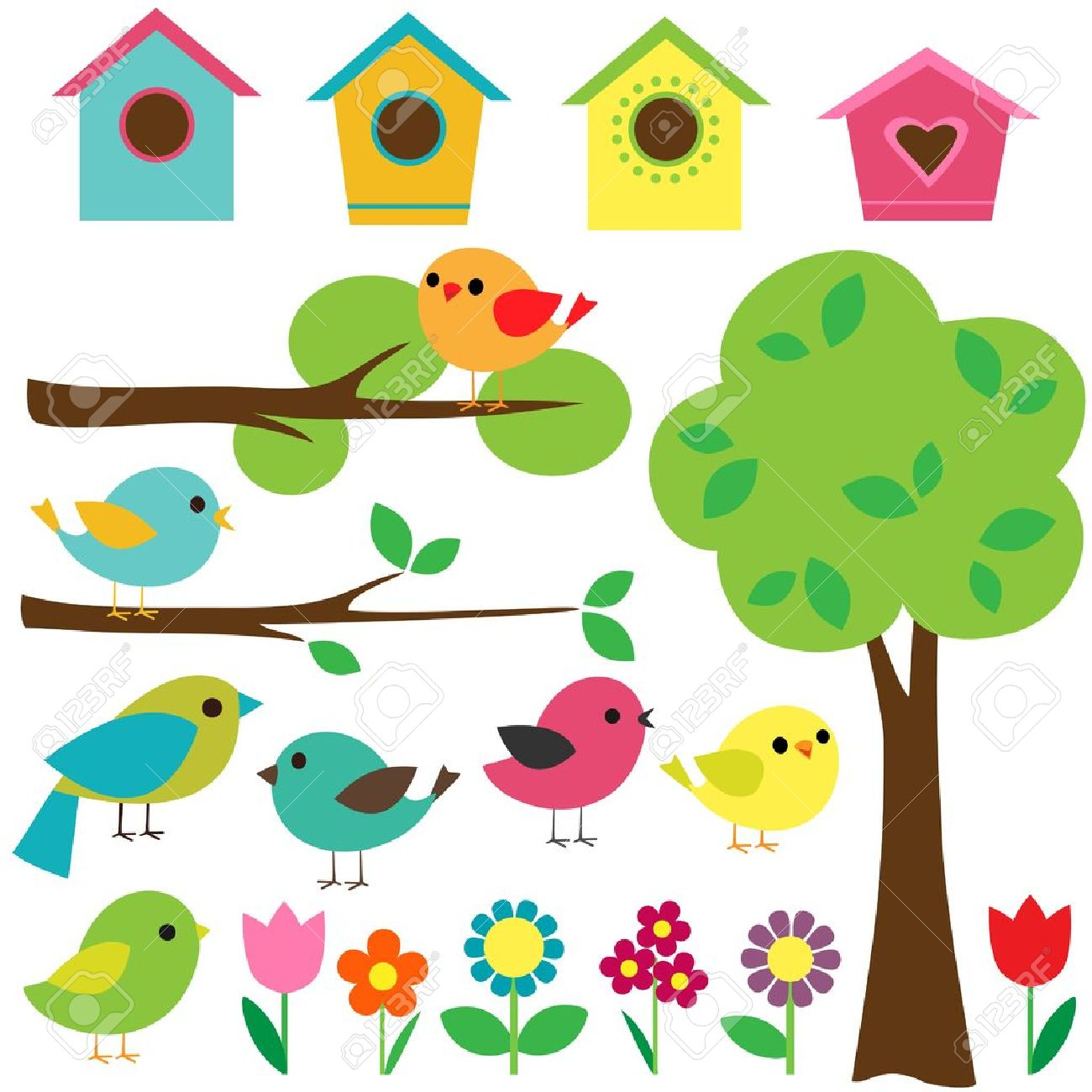 set birds with birdhouses trees and flowers royalty free cliparts rh 123rf com Cute Small Bird Clip Art Cute Small Bird Clip Art