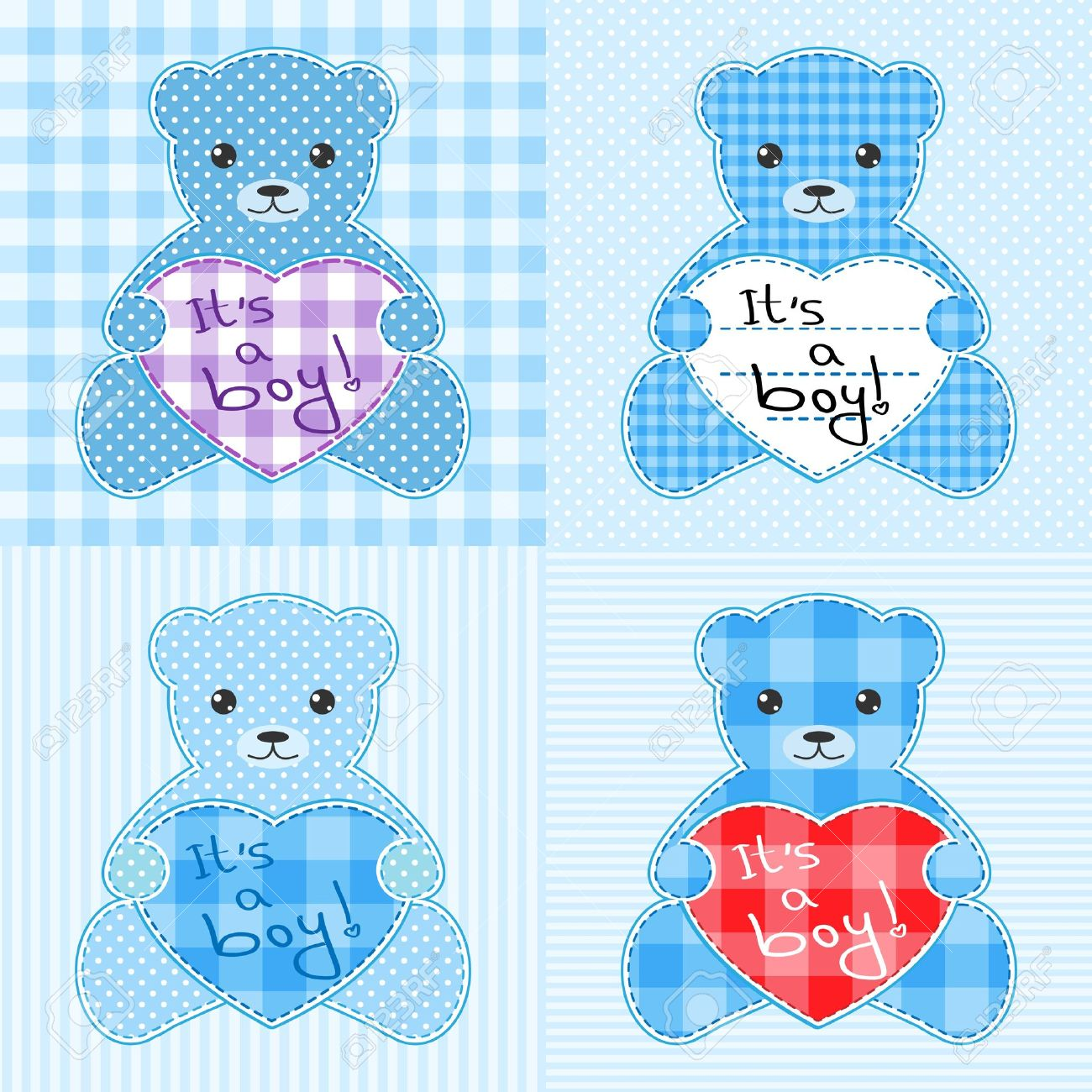 Set of four cards with blue teddy bears for boy. Stock Vector - 10329586