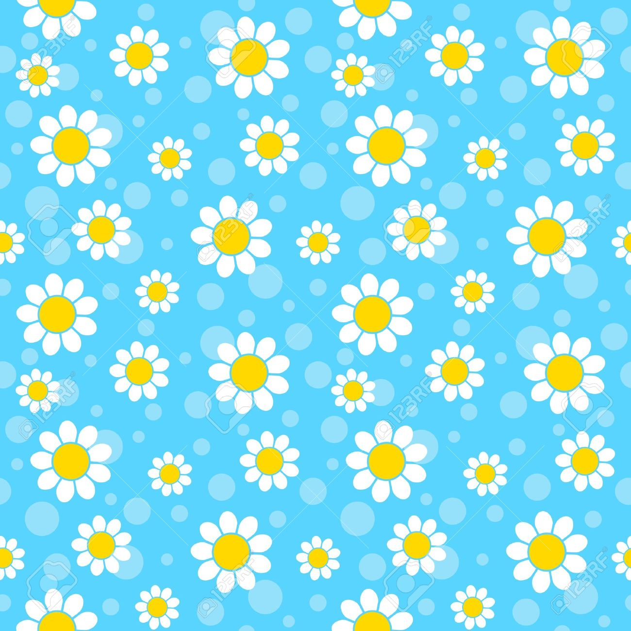 White Flowers On Blue Background Seamless Pattern Royalty Free