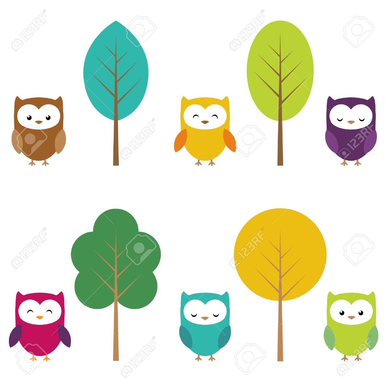 Owls In Six Color Combinations And Four Tree Stock Vector