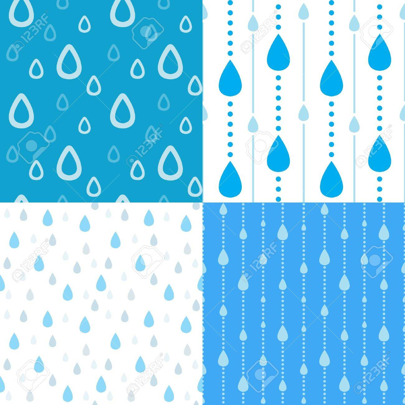 Four seamless rain background Stock Vector - 10329565