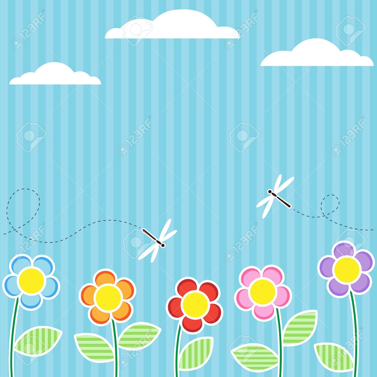 Background with flowers and flying dragonflies Stock Vector - 10571833