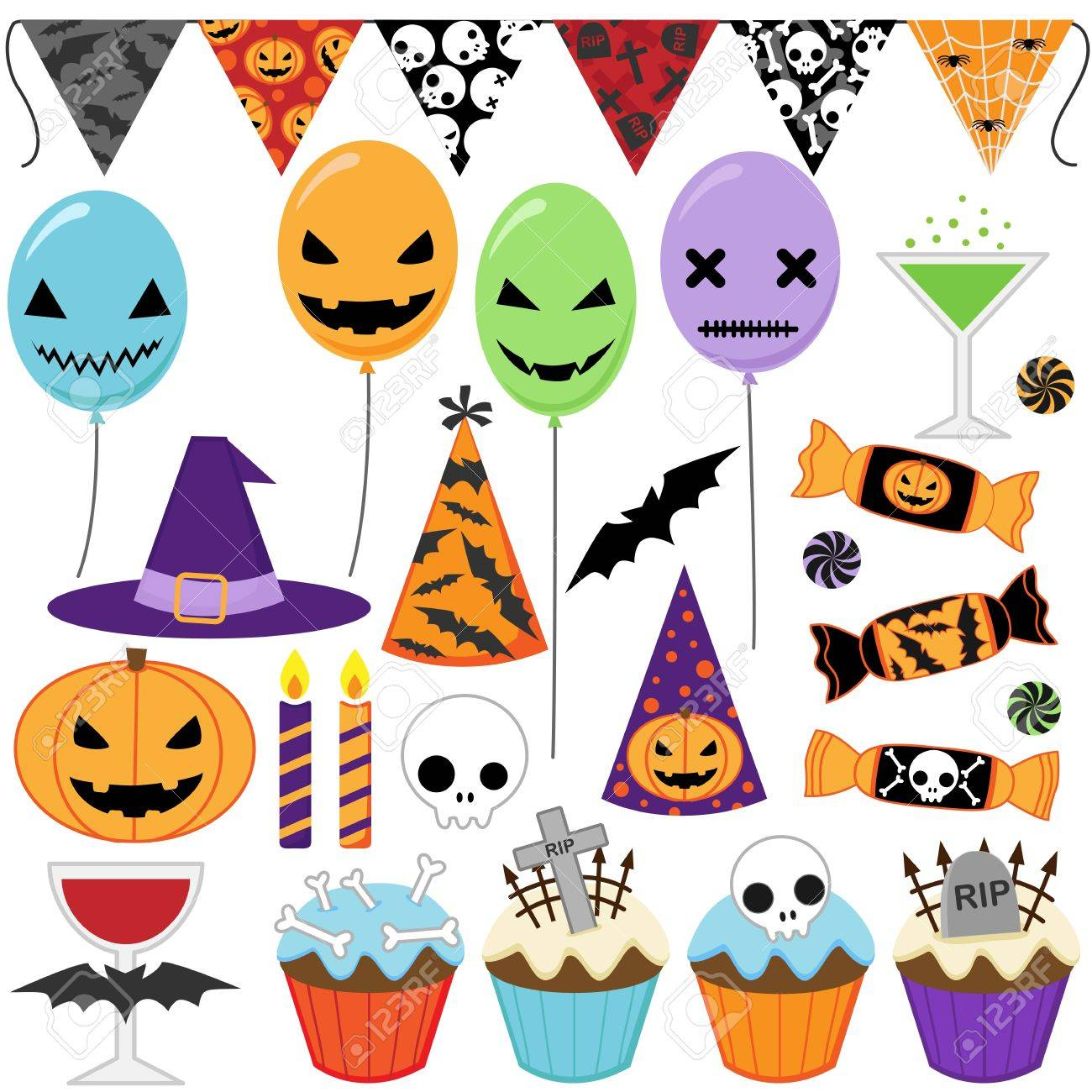 Set Of Halloween Party Elements Royalty Free Cliparts, Vectors ...