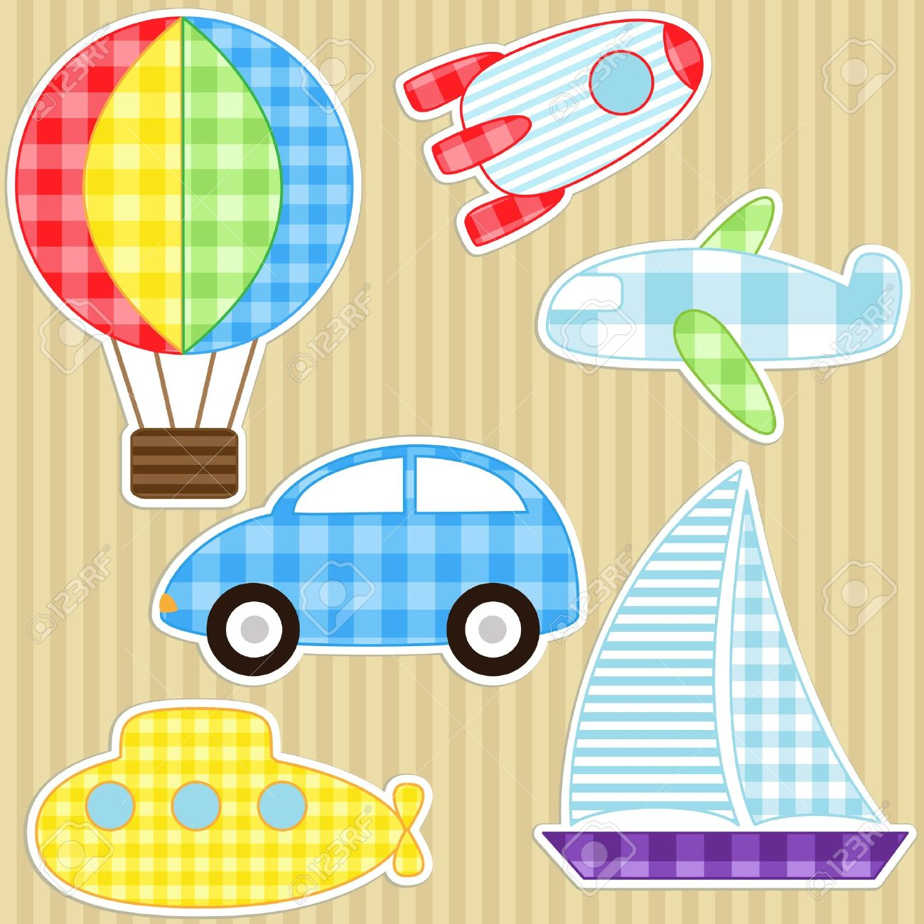 Set of cute vector colorful transport stickers Stock Vector - 10719029
