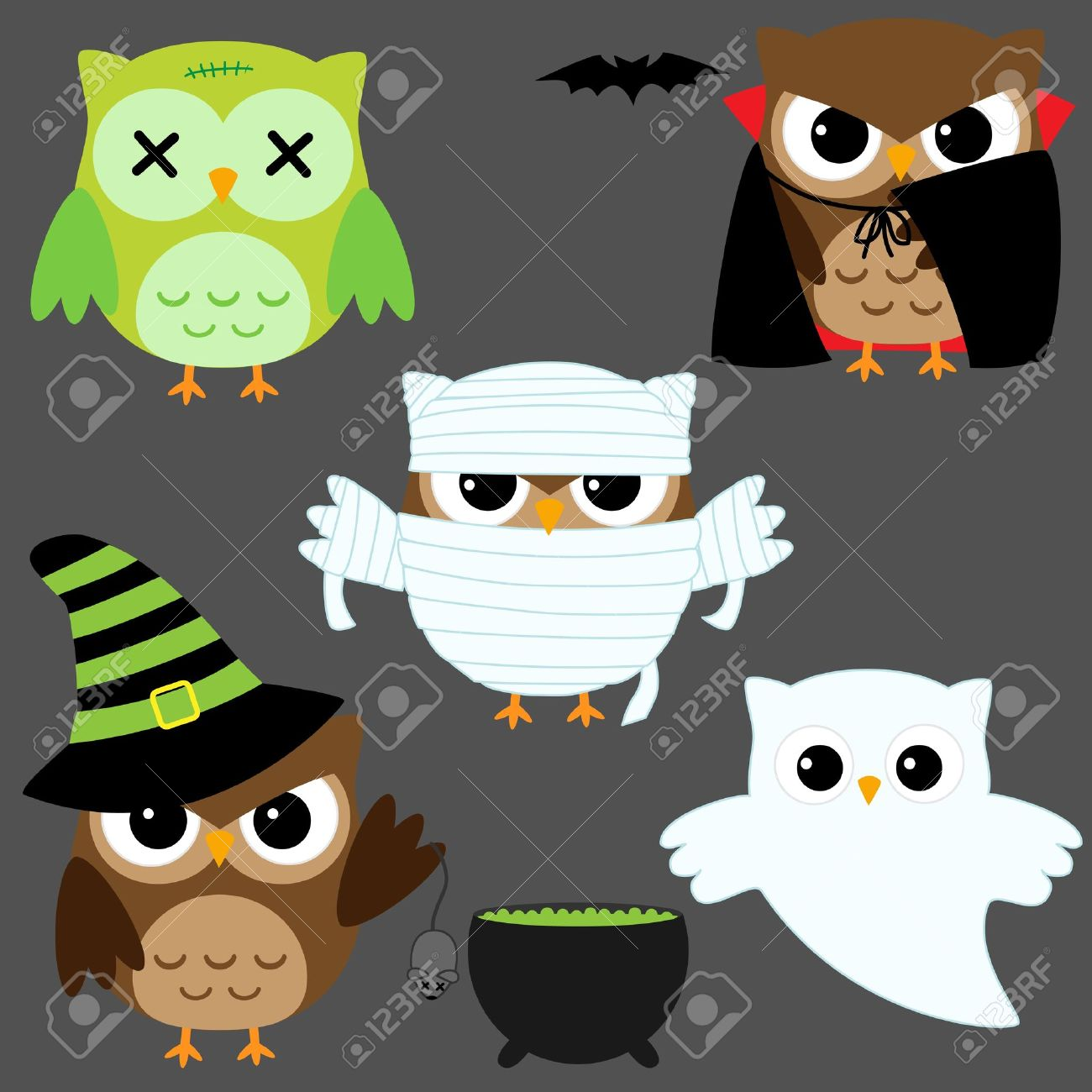 Set Of Cute Vector Owls In Halloween Costumes Royalty Free ...