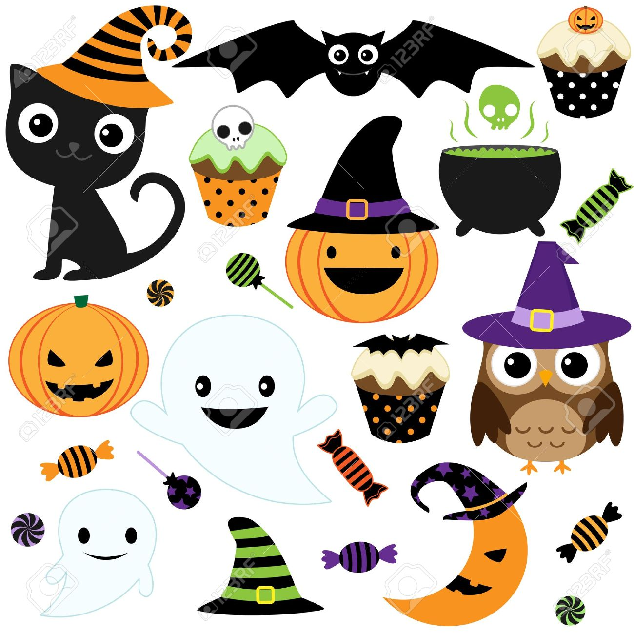 Set of cute vector Halloween elements, objects and icons for your design Stock Vector - 10719028