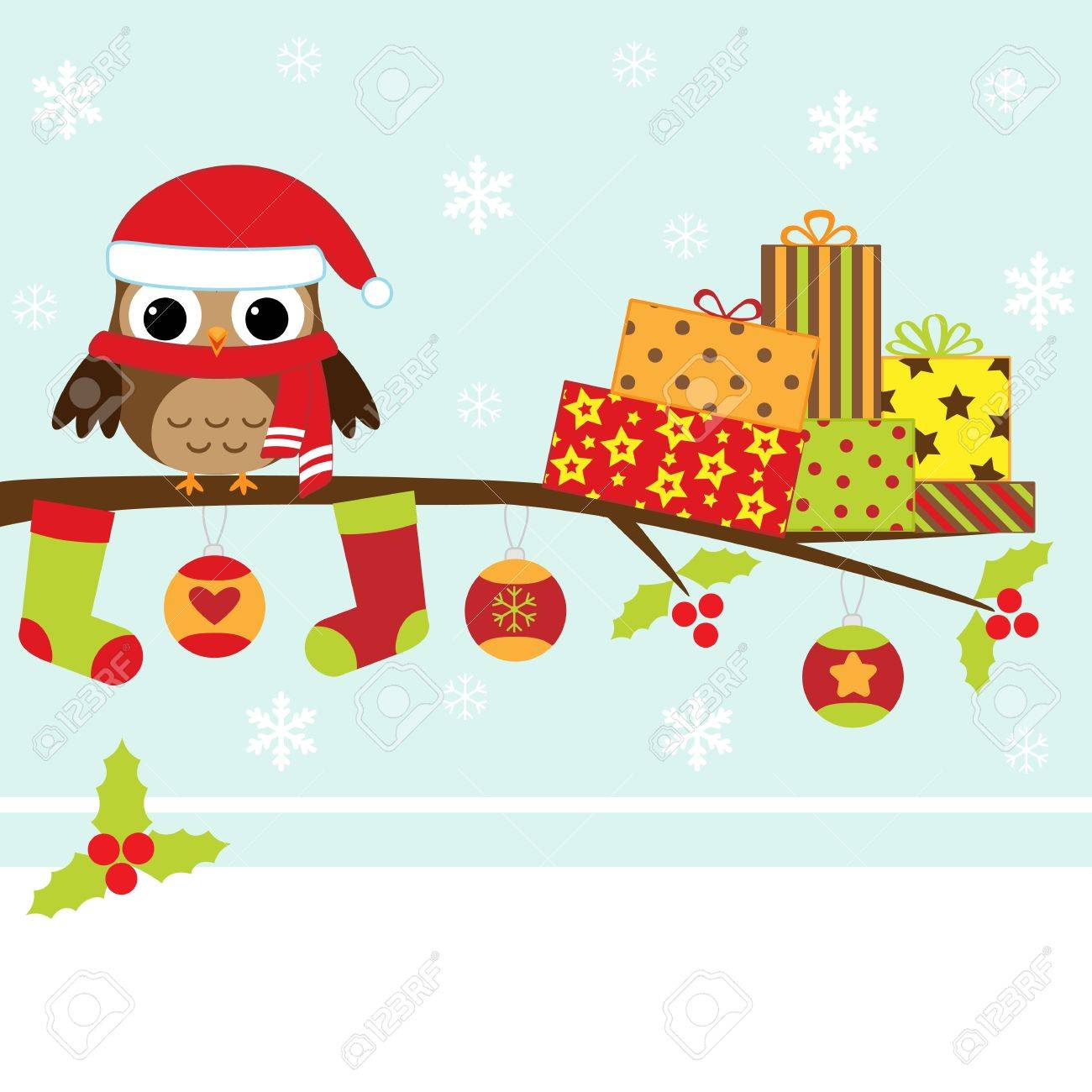 Christmas card with cartoon owl Stock Vector - 11597395