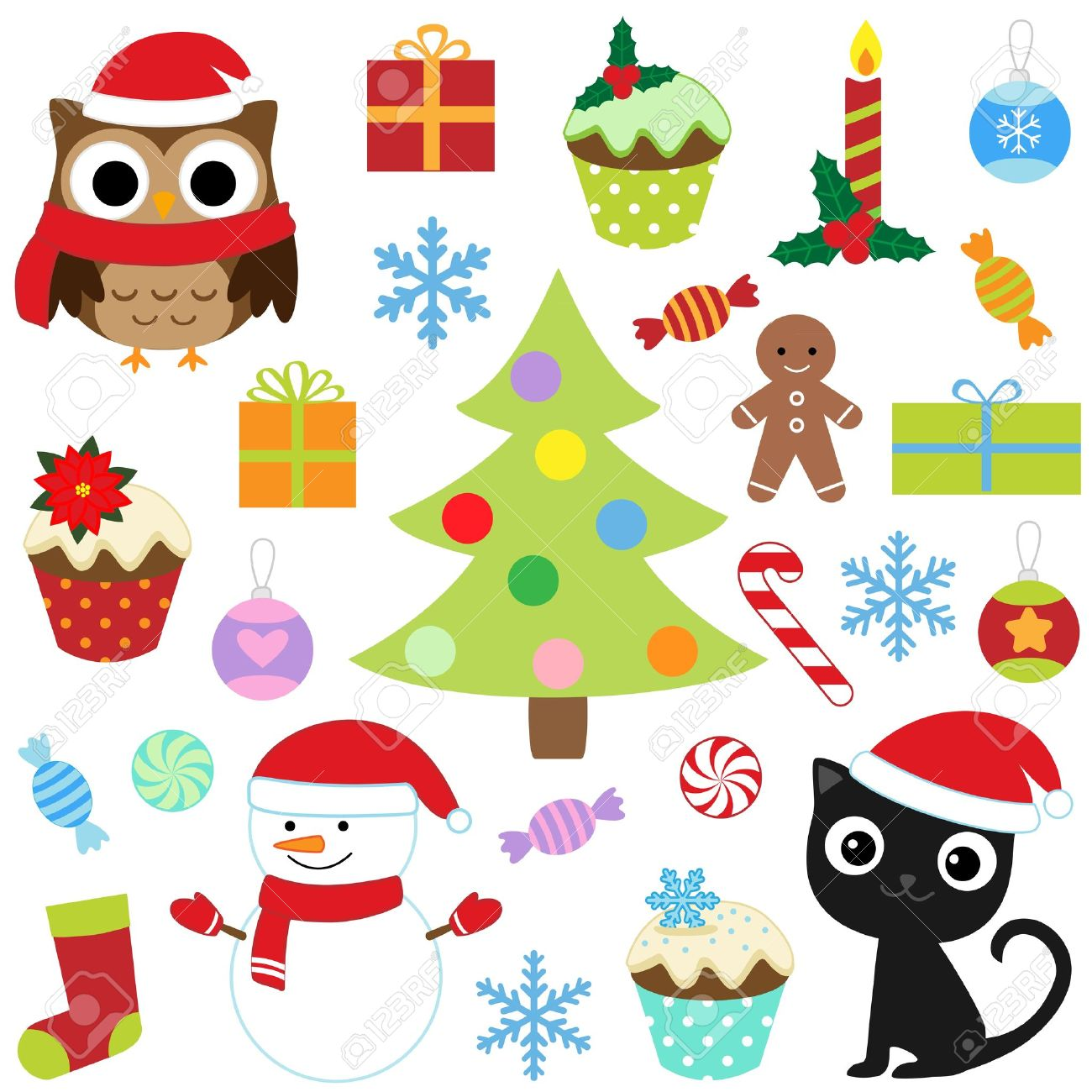 Christmas Vector Cute Elements Set Royalty Free Cliparts, Vectors ...