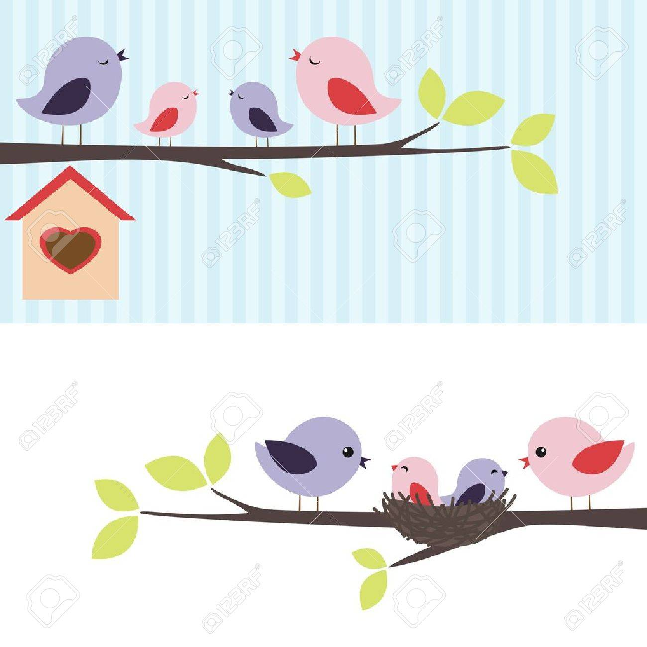 Family of birds sitting on a branch. Two variations. Stock Vector - 12192480