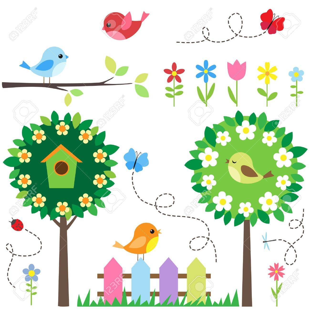 Garden set with birds, blooming trees, flowers and insects. Stock Vector - 12393576