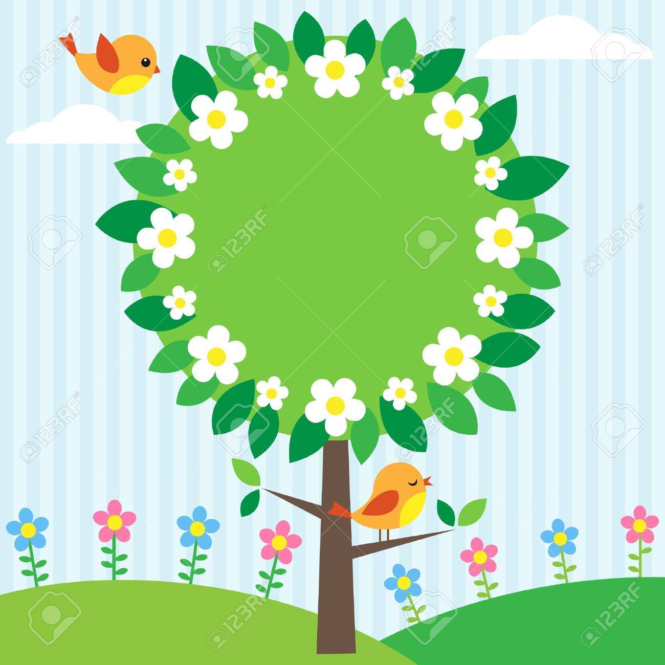 Background with birds, flowers and blooming tree Stock Vector - 12875716