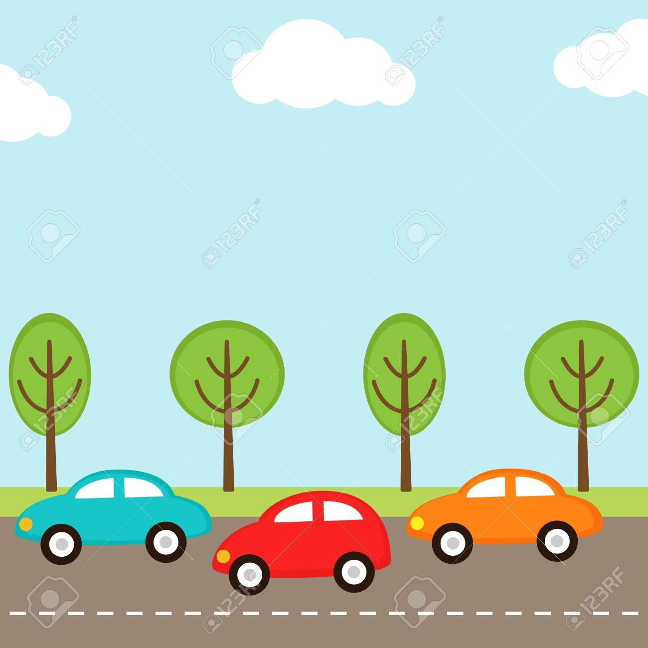 background with cars on the road - 13297165